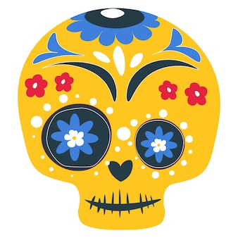 Череп украшен линиями и цветочными орнаментами для празднования дня мертвых. мексиканский праздник, dia de los muertos. калавера изолированная икона, карнавальный макияж традиционной живописи. вектор в плоском стиле