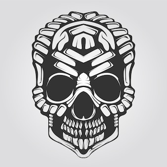 Skull decorative line art black and white
