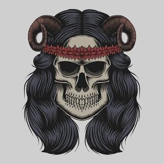 頭蓋骨の悪魔の女の子のイラスト