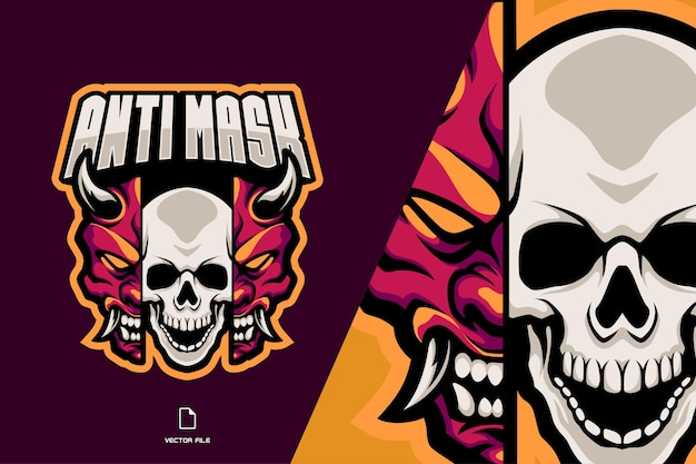Skull and demon mask split mascot logo
