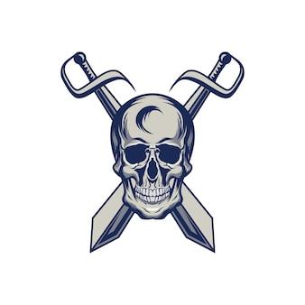 Skull devil mascot logo illustration head premium quality