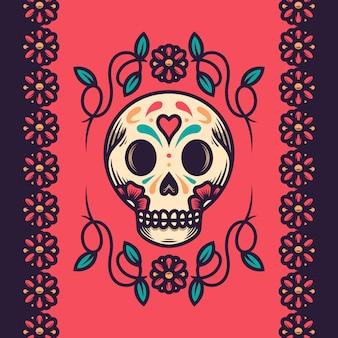 Skull dia de muertos illustration