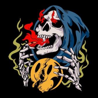 Skull distressed retro illustration
