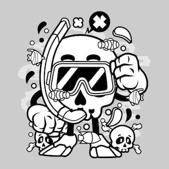 Skull diver cartoon