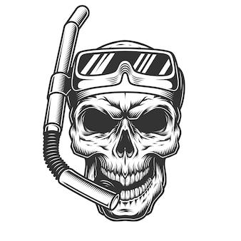 Cranio nella maschera subacquea