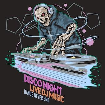Skull dj funky full color