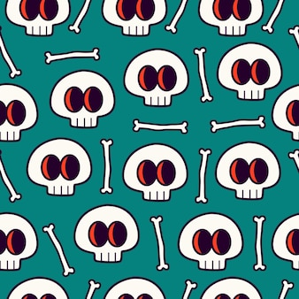 Skull doodle seamless pattern design wallpaper