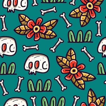해골 낙서 원활한 패턴 디자인 벽지