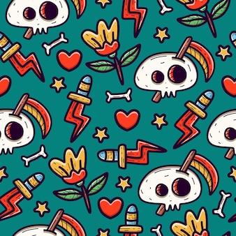 Skull doodle seamless pattern