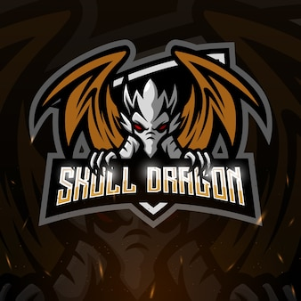 Skull dragon mascot esport illustration