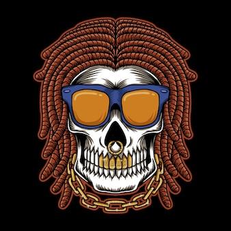 Skull dreadlocks head