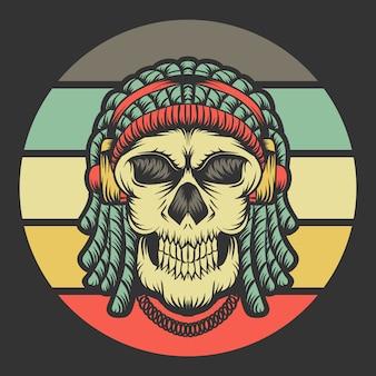 Skull dreadlocks headphone retro