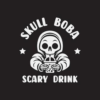 Skull drink a cup of milk logo vector