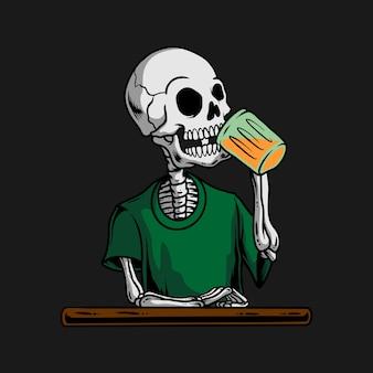 Skull drinking beer
