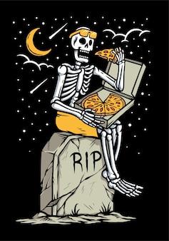 黒で隔離の墓でピザを食べる頭蓋骨