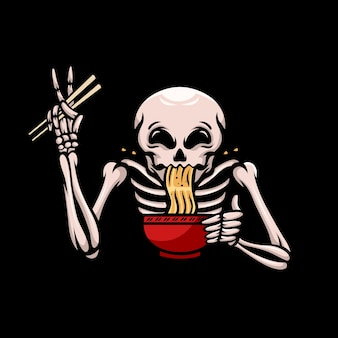 A skull enjoying ramen