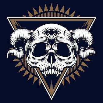 Skull evil on blue