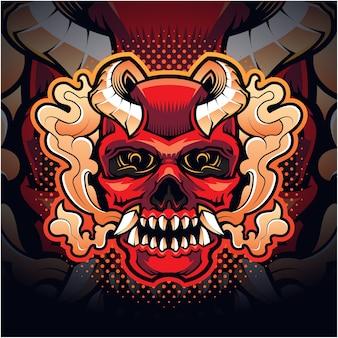 Skull evil head mascot logo