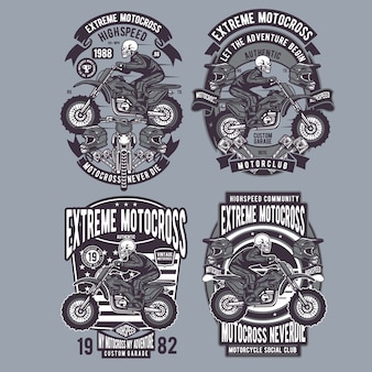 Skull extreme motocross badge set