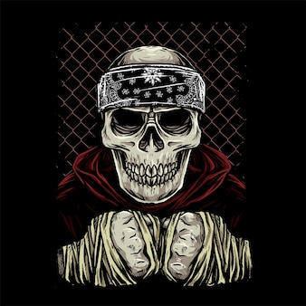 Skull fighter with bandana and hooded