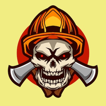 Skull fire fighter illustration badge design