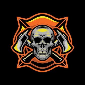 Стиль пожарных черепа для дизайна футболки