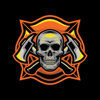 Skull fire fighters style for t-shirt design