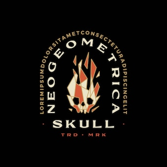 Skull fire flame geometric t shirt badge vintage emblem tee merch logo vector icon illustration