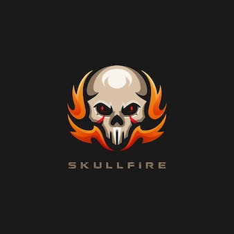 Skull fire gaming logo template
