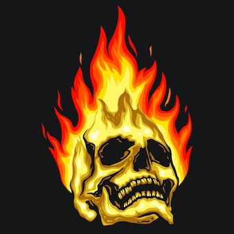 Skull fire illustration