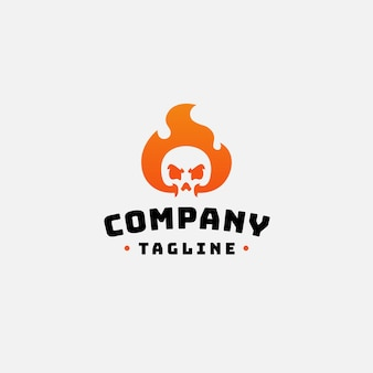 Skull fire logo design
