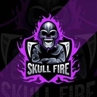 Skull fire mascot logo esport design