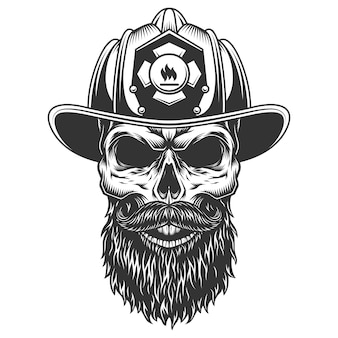 Skull in the fireman hat