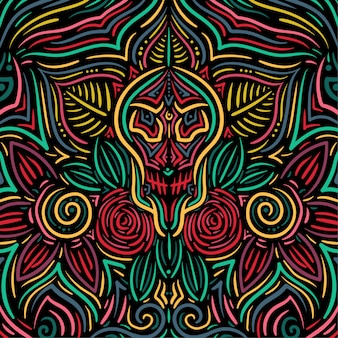 Skull flower abstract floral