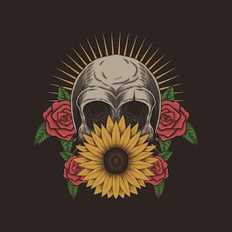 Иллюстрация украшения черепа цветка