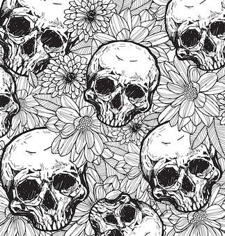 Skull and flower hand sketch with line art