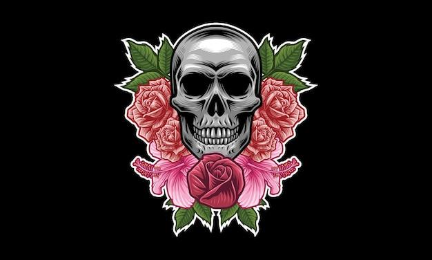 해골 꽃 마스코트 로고 디자인
