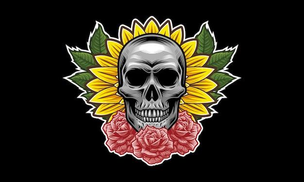 Skull flower mascot logo design