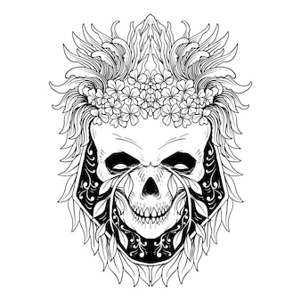 Skull and flowers day of the dead vintage vector illustration