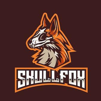 Шаблон логотипа skull fox esport