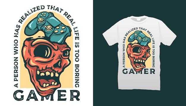 Дизайн футболки skull gamer