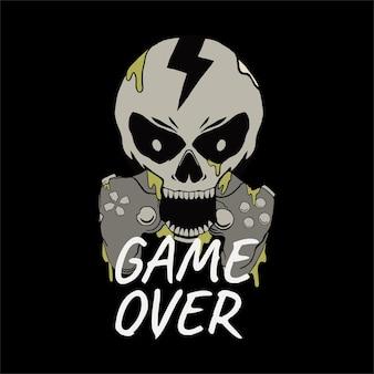 Tshirt에 대한 해골 게임 ilustration 디자인