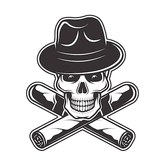 Skull in gangster hat and two crossed cigars  illustration in monochrome   on white background