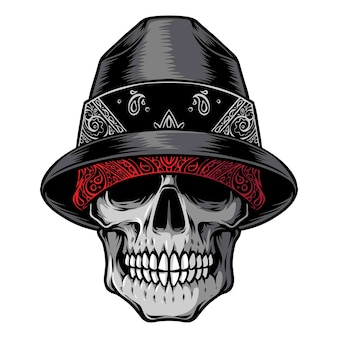 Skull gangster head  logo