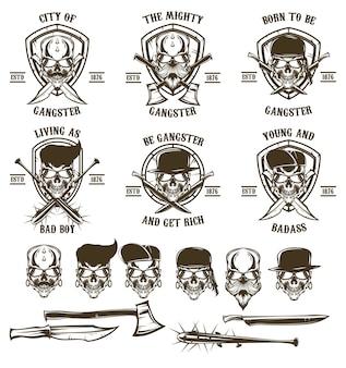 Skull gangster logo set