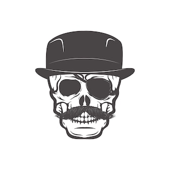 Skull in gentleman's hat. design element for t-shirt print.