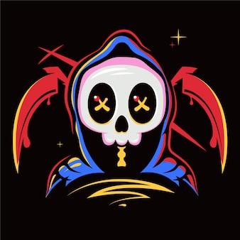 Skull ghost art cartoon illustration premium vector