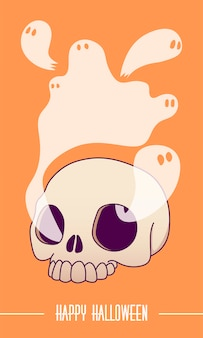 A skull, ghosts fly out of the eye sockets