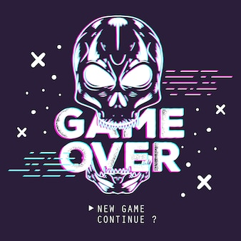 Skull glitch effect game over illustration.
