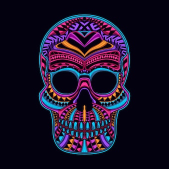Skull glow in the dark neon color